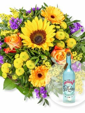 Sunny Day und Blaue Glasflasche Happy Birthday mit LED