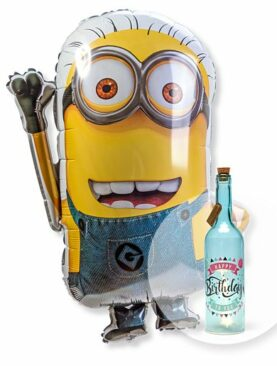Ballon Minion und Blaue Glasflasche Happy Birthday mit LED