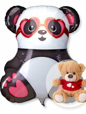 Riesenballon Panda in Love und Love-Teddy