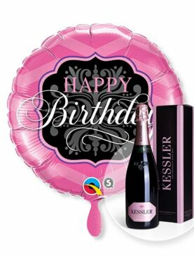 Ballon Happy Birthday Pink and Black und Kessler Rose Sekt
