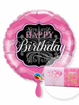 Ballon Happy Birthday Pink and Black und Schokolade Dein Tag