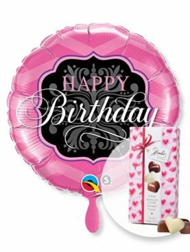 Ballon Happy Birthday Pink and Black und Herz-Pralinen-Trio