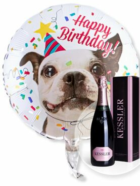 Ballon Happy Birthday Hund und Kessler Rose Sekt