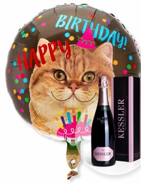Ballon Happy Birthday Katze und Kessler Rose Sekt
