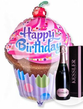 Riesenballon Happy Birthday Cupcake und Kessler Rose Sekt